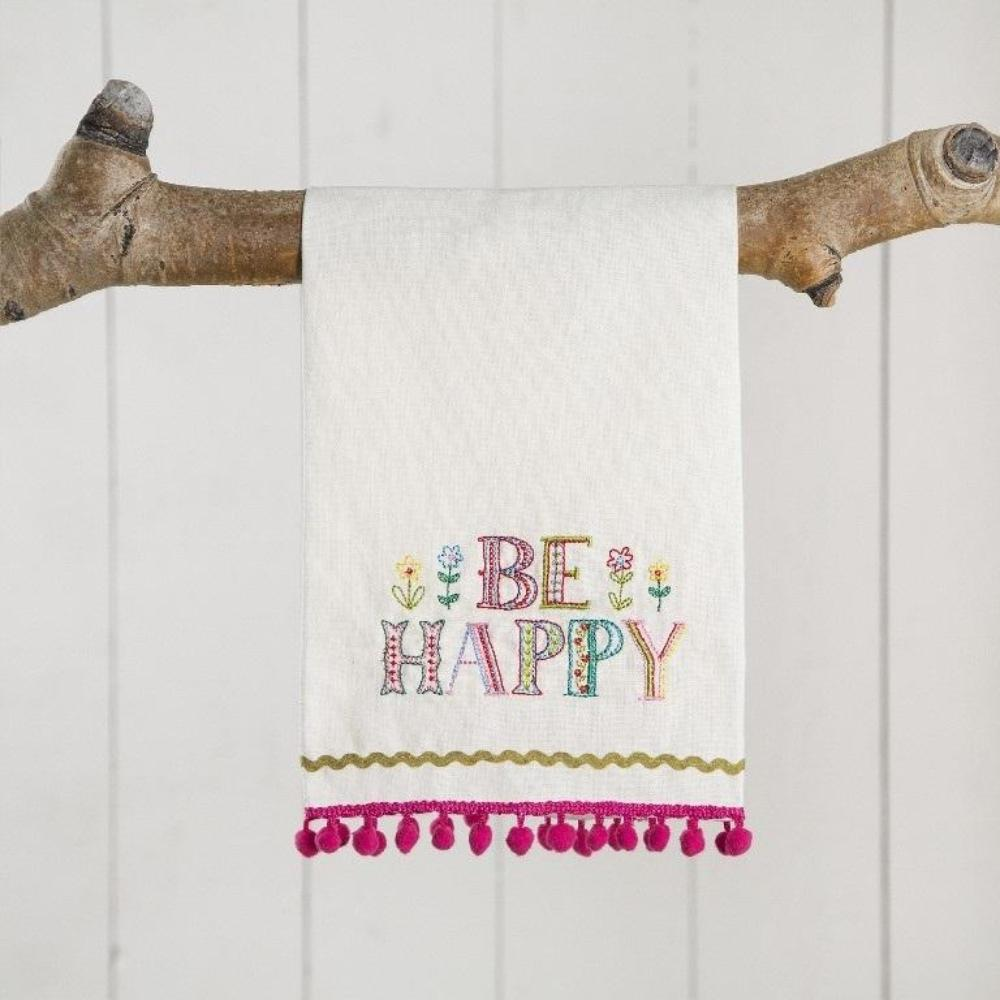 Hand Towel - Linen - Be Happy
