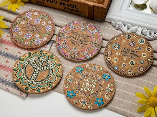Set of 4 Pretty Retro Cork Coasters