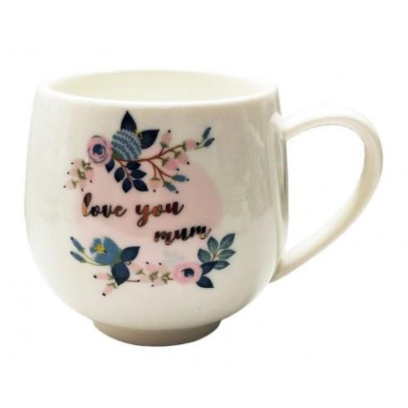 Mug - Love you Mum (Pink & Navy flower design)