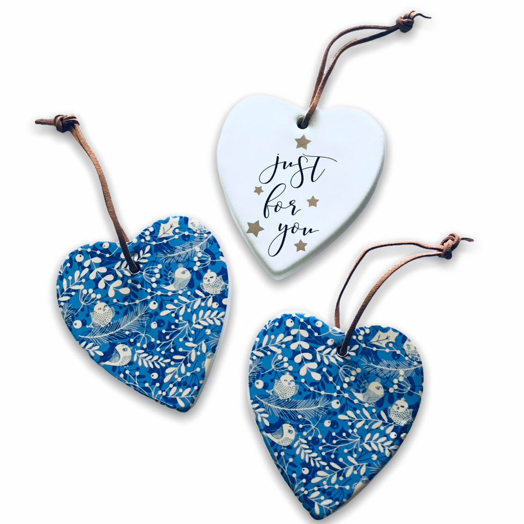 Hanging Ceramic Christmas Heart - For You