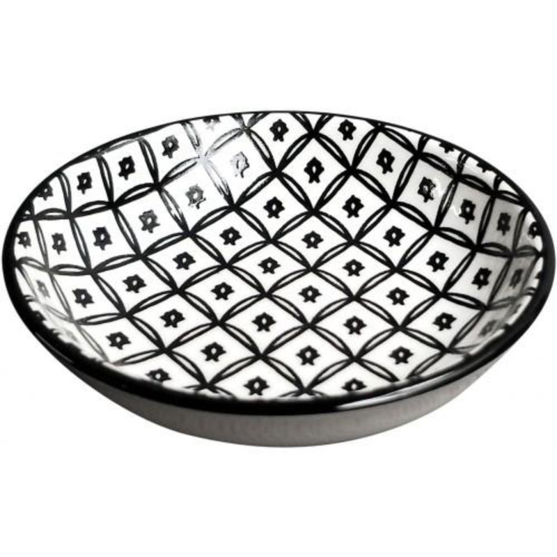 Round Monochrome Trinket dish (Diamond Pattern)