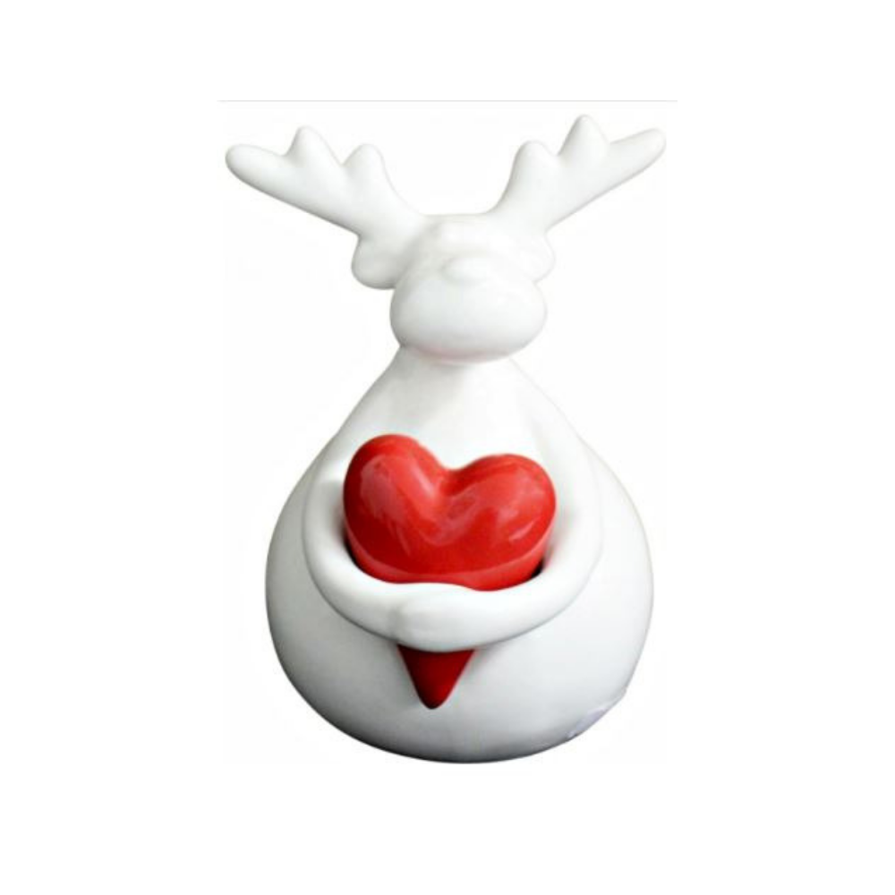 Reindeer Hugging Heart  Christmas Decoration