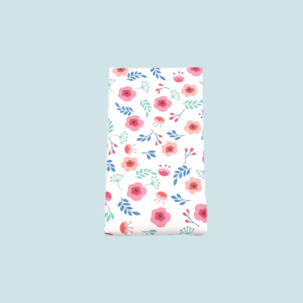 Protective Glasses Pouch (Little Blossoms Design) with Matching Lens Cleaning Cloth