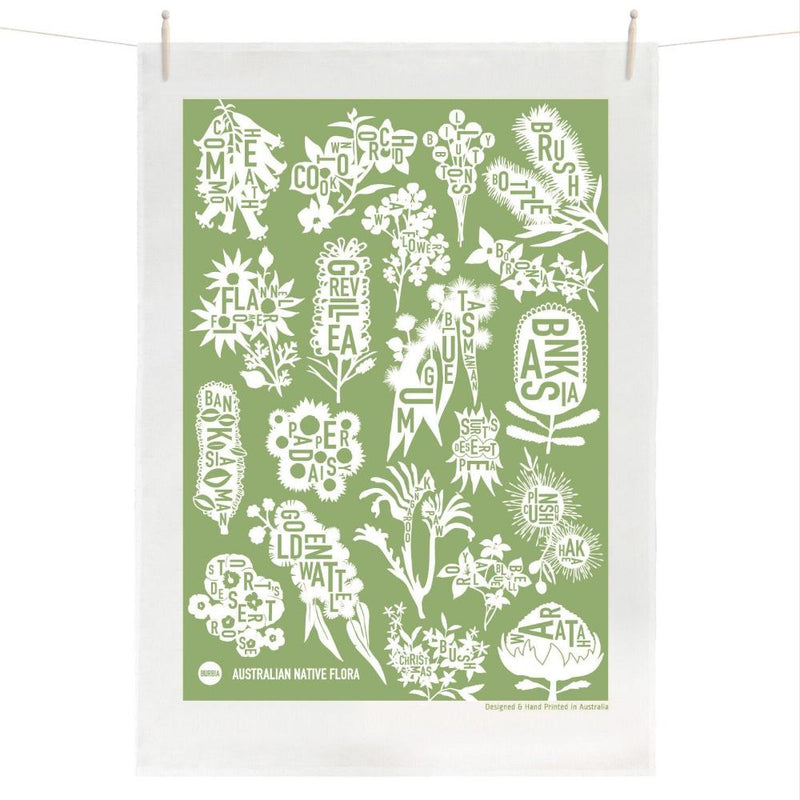 Australian Native Flora Tea Towel (Green)