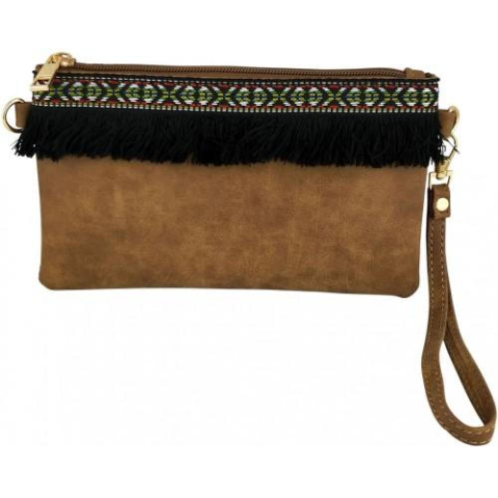 Tan Clutch with Fringe