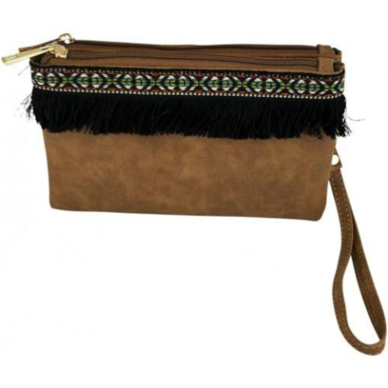 Tan Double Clutch Bag with Fringe Detail