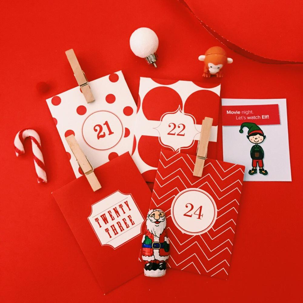 24 Day Advent Calendar - Christmas Countdown - Paper Envelope  (Candy Cane Design)