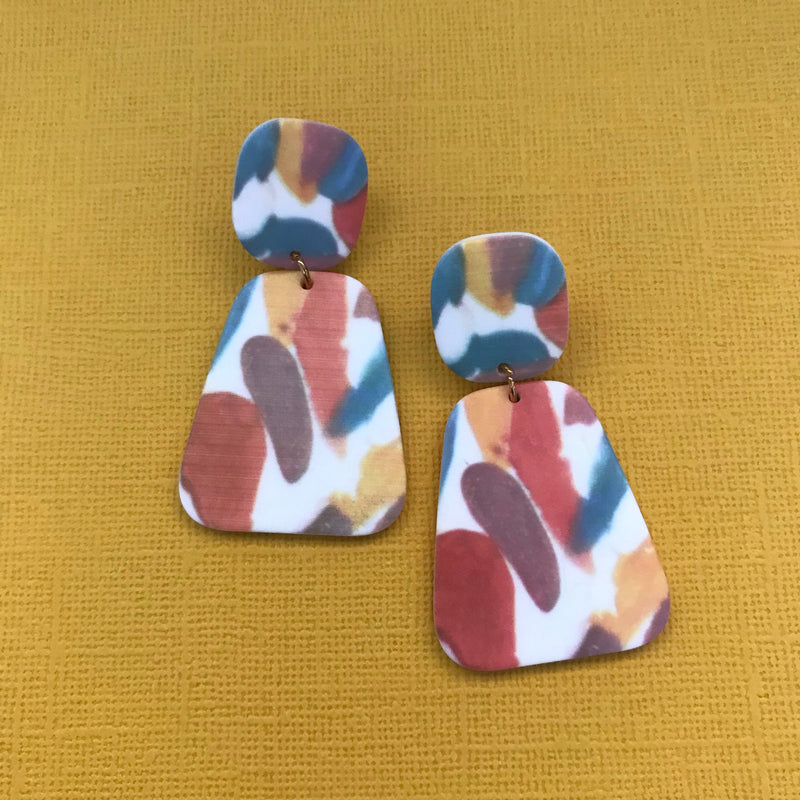 Multi Colour Acrylic Drop Earrings