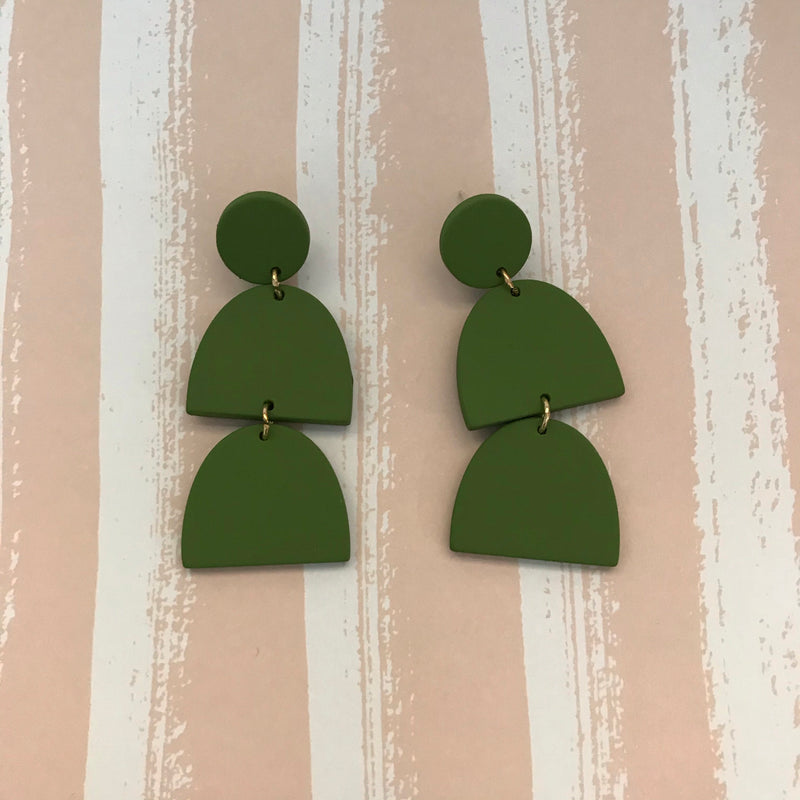 Forest Green Acrylic Drop Earrings