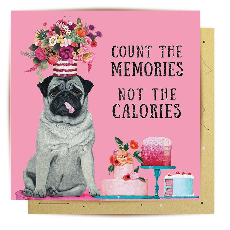 Greeting Card - Calorie Counter Pug