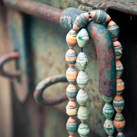 Necklaces made from Recycled Magazines (Blue & Red Available)