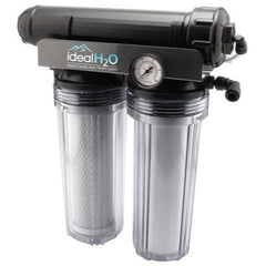 Ideal H2O Premium 3 Stage RO System w/ Coconut Carbon Pre Filter + PSI Gauge - 100 GPD