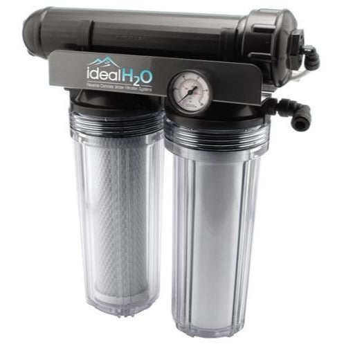 Ideal H2O Premium 3 Stage RO System w/ Upgraded Catalytic Carbon Pre Filter + PSI Gauge - 100 GPD