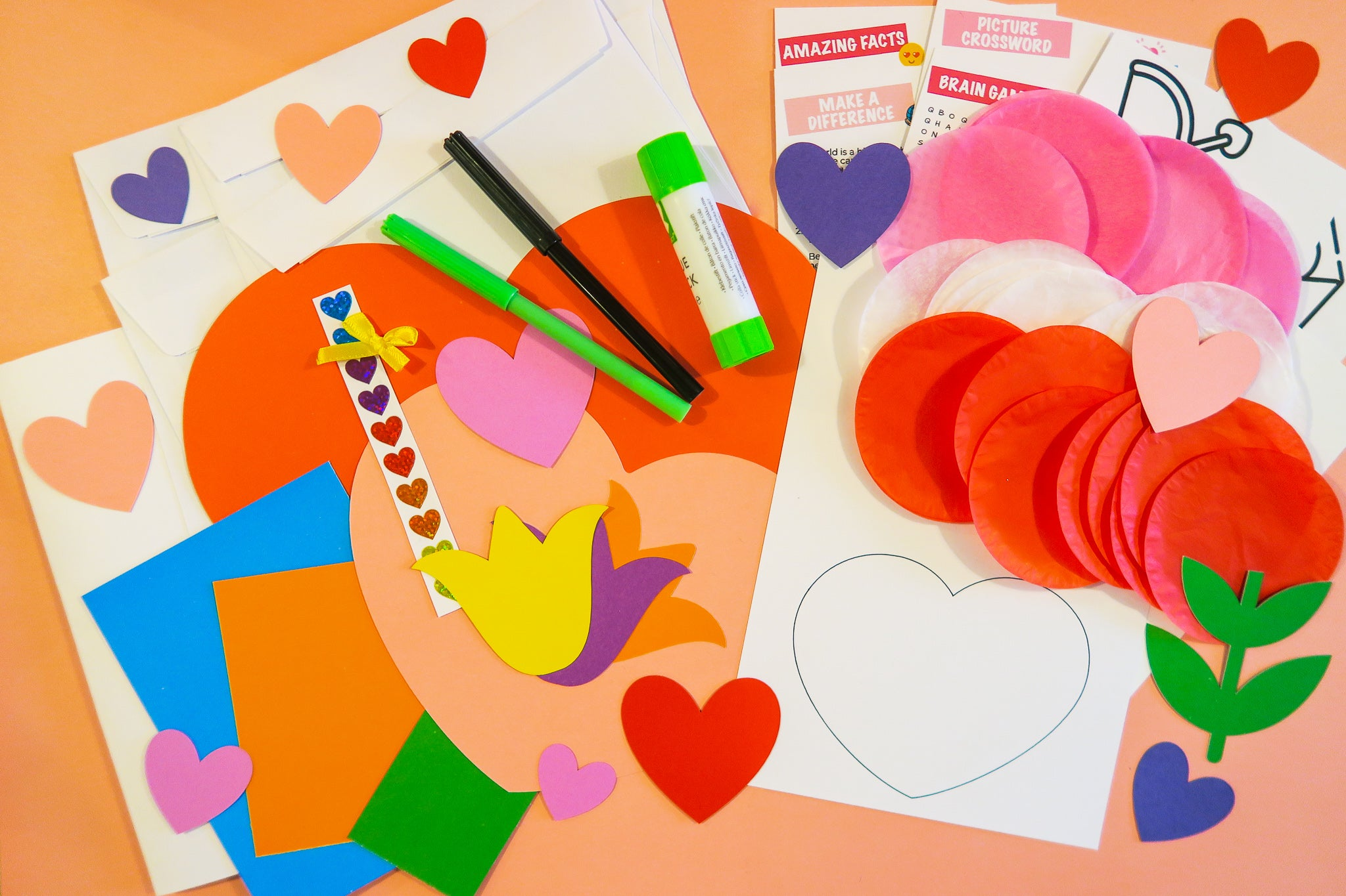 Valenties day card kit contents
