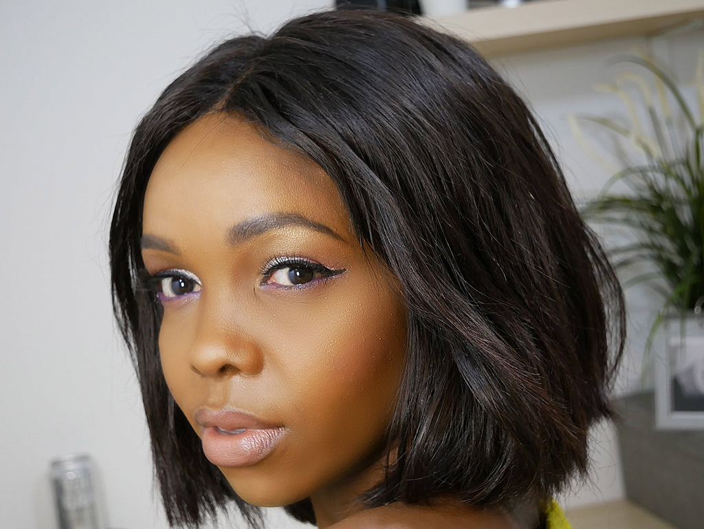 Straight Human Hair Wigs | Bob wigs |  Lace Front | with Baby Hair | 150% density