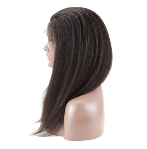 Kinky Straight Lace Front Human Hair Wigs | Natural Hairline with Baby Hair