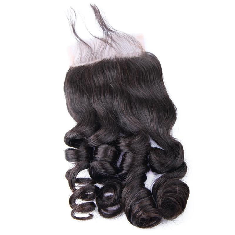 Lace Closure Peruvian Loose Wave Remy Hair | 4X4 Free Part | Pre Plucked