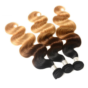 T1B/4/27 Ombre Brazilian Hair Weave | Body Wave Bundles  | 1 Piece |  3 Tone Blonde
