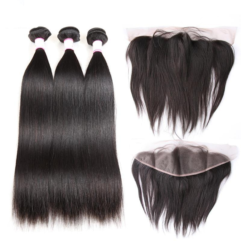 3 Brazilian Straight Hair Bundles With Lace Frontal Closure | Swiss Lace | Free Part