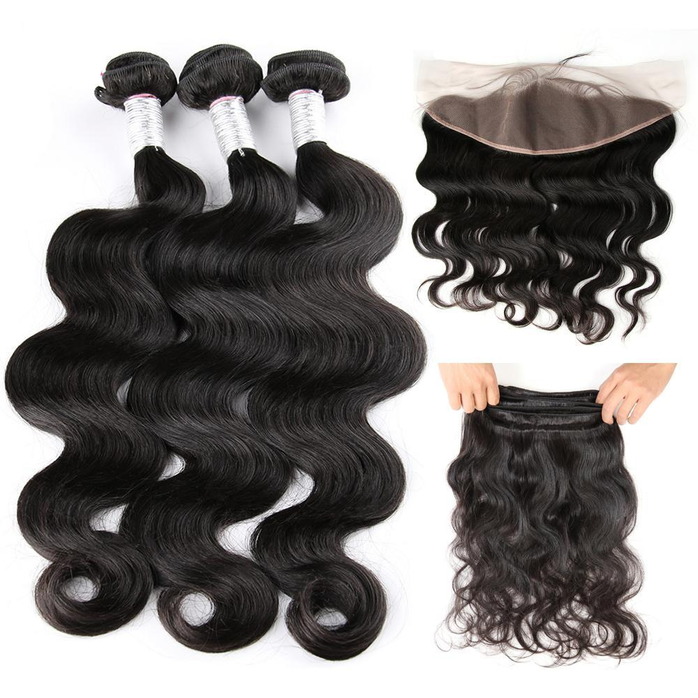 3 Brazilian Body Wave Human Hair  Bundles with Free Part Ear To Ear Lace Frontal