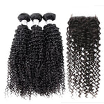 Brazilian Kinky Curly Hair Human Hair Bundles With Lace Closure Free Part