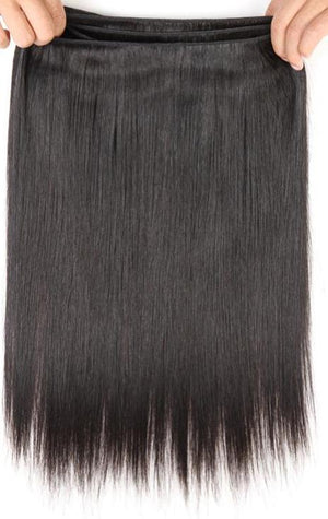 3 Brazilian Straight Hair Human Hair Bundles With Closure |  Middle Part