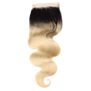 3 Brazilian Human Hair Black Roots 1B/613 Body Wave Weave Bundles With Free Part Lace Closure
