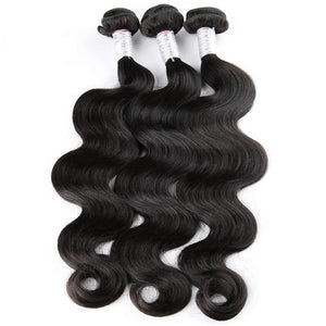 3 Brazilian Body Wave Human Hair Bundles With 360 Lace Frontal Closure
