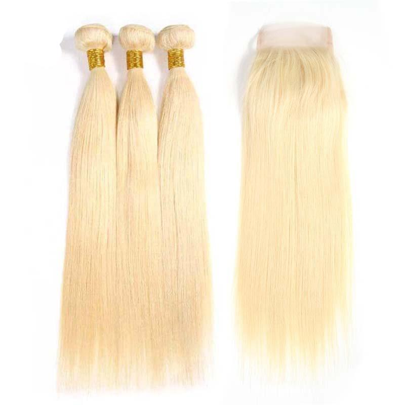 613 Blonde Brazilian Straight Hair 3 Bundles With Closure | Free Part | 4x4 Closure