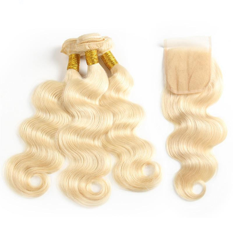 613 Blonde Brazilian Body Wave Hair 3 Bundles With Closure | Free Part  |  4x4 Closure