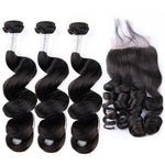 Peruvian Human Hair 3 Bundles With Closure | Loose Wave with 4*4 Hand Tied Lace Closure