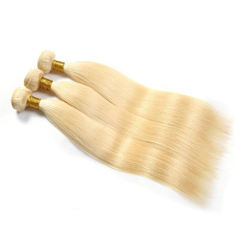 Bleached 613 Blonde Brazilian Straight Human Hair Weave | 3 Bundles deal