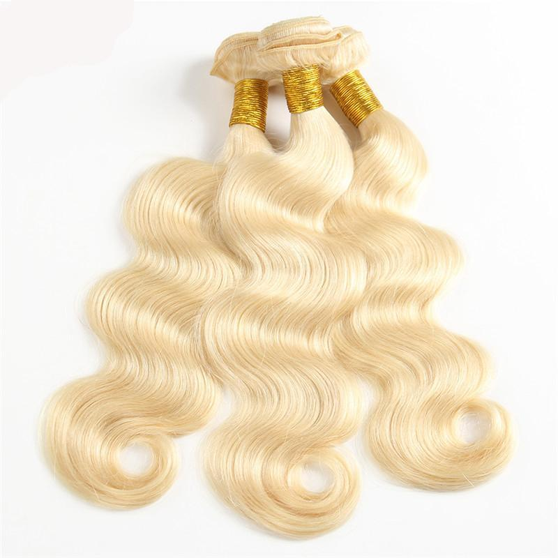 Bleached 613 Blonde Body Wave Brazilian Human Hair Weave | 3 Bundles deal