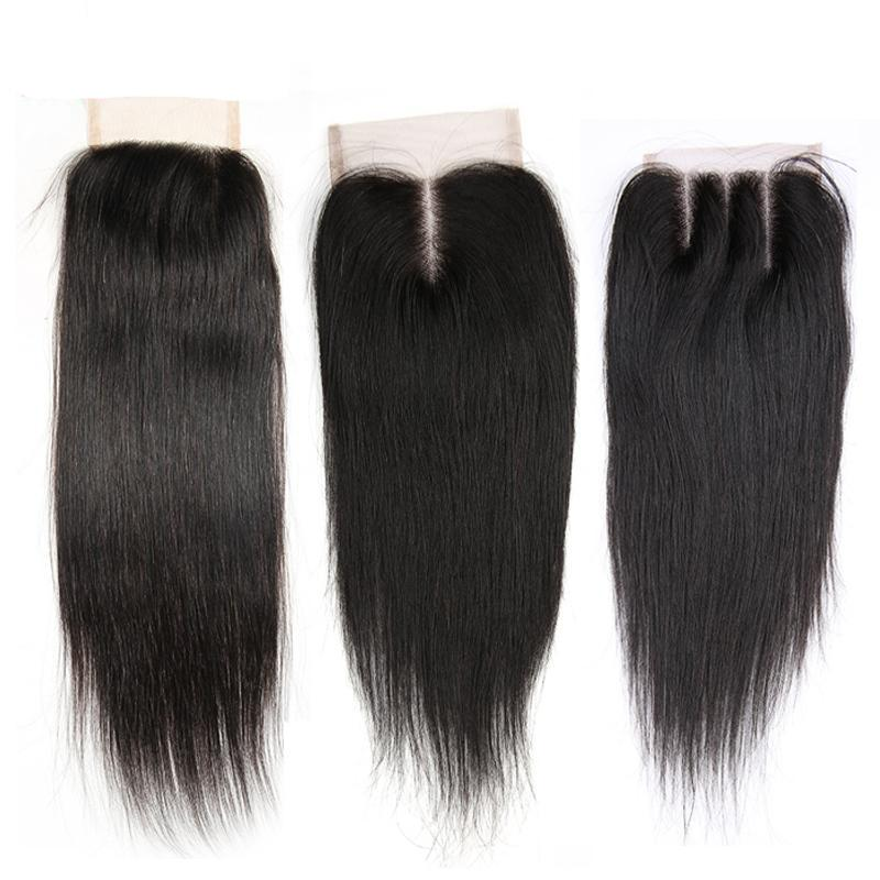Lace Closure Brazilian Straight Human Hair  | 4X4 Free Part/Middle Part/Three Part