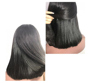 Silky straight bob human hair wigs | Lace Front |  Brazilian Virgin Hair | 180% Density