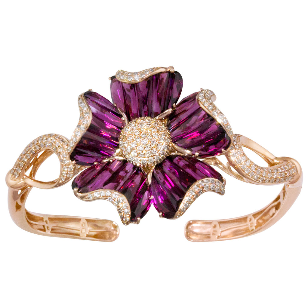 BELLARRI Mademoiselle - Bangle (Rose Gold with Rhodolite Gemstones and Diamonds)