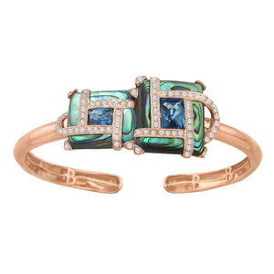 BELLARRI Anastasia - Bangle set in 14kt Rose gold and contains approximately 0.47ct of genuine  Diamonds, 2.45ct of genuine London Blue Topaz, and eight inlays of genuine Abalone