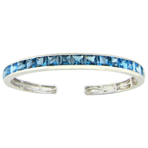 BELLARRI Eternal Love - Bangle (White Gold with Blue Topaz Gemstones)