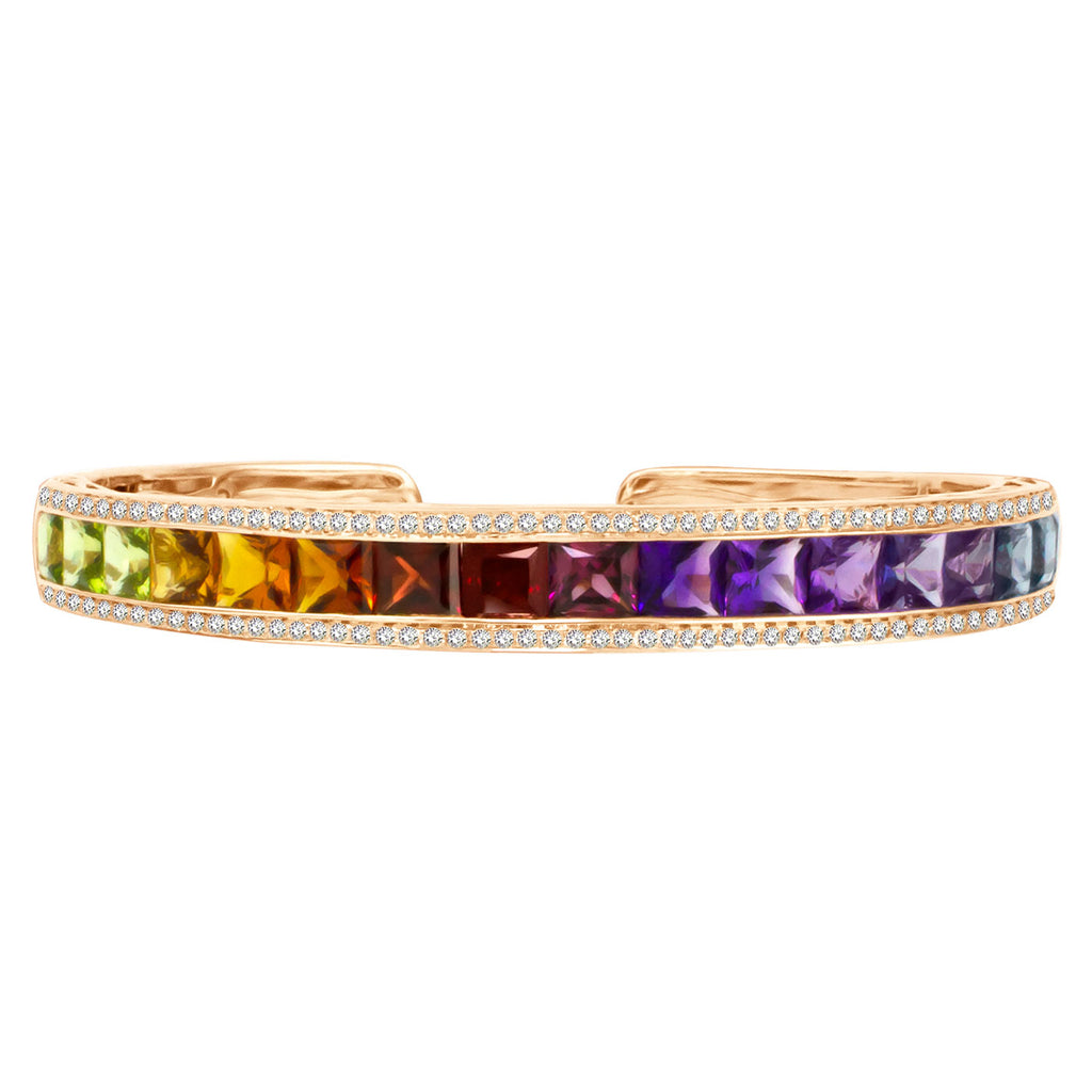 BELLARRI Eternal Love - Rose Gold / Multi Color Gemstone - Bangle