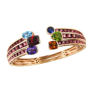 BELLARRI Capri Nouveau Bangle - 14kt Rose Gold, Multi Color Gemstones