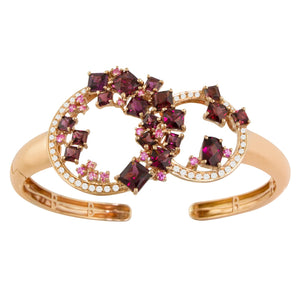 BELLARRI Lily Bangle - 14KT Rose Gold, geniune Diamonds, Rhodolite, Pink Sapphires