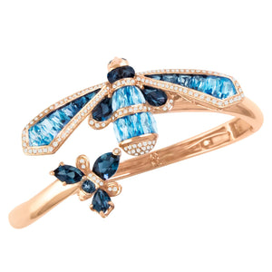 BELLARRI Queen Bee Bangle - 14kt Rose Gold, genuine Diamonds, Swiss Blue Topaz, London Blue Topaz, Sapphires