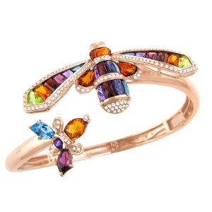 BELLARRI Queen Bee Bangle - 14kt Rose Gold, genuine Diamonds, genuine Multi Color Gemstones