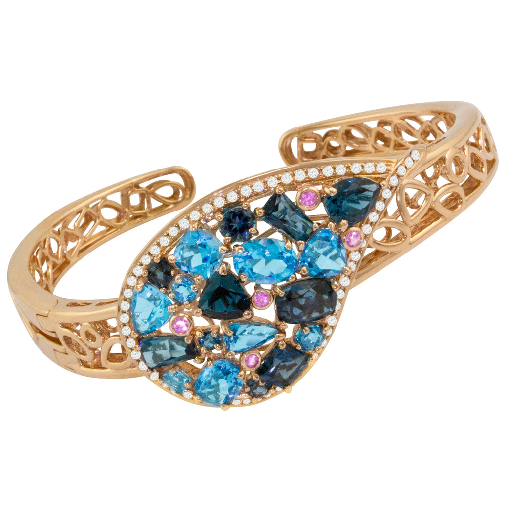 BELLARRI Amore Bangle - Rose Gold, Blue Topaz, Pink Sapphires, Diamonds