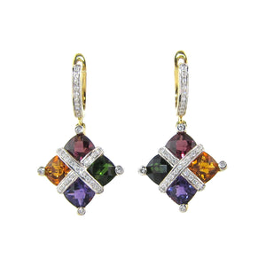BELLARRI Mosaic - Earrings (14kt Yellow Gold and genuine Gemstones)