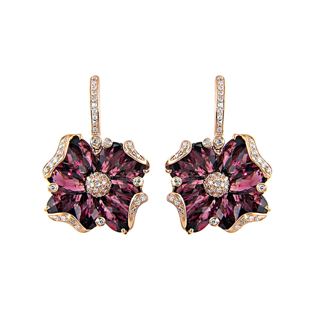 BELLARRI Mademoiselle - Earrings (Rose Gold with Rhodolite Gemstones)