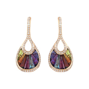 BELLARRI La Bouquet - Earrings (Rose Gold, Diamonds, Multi Color Gemstones)