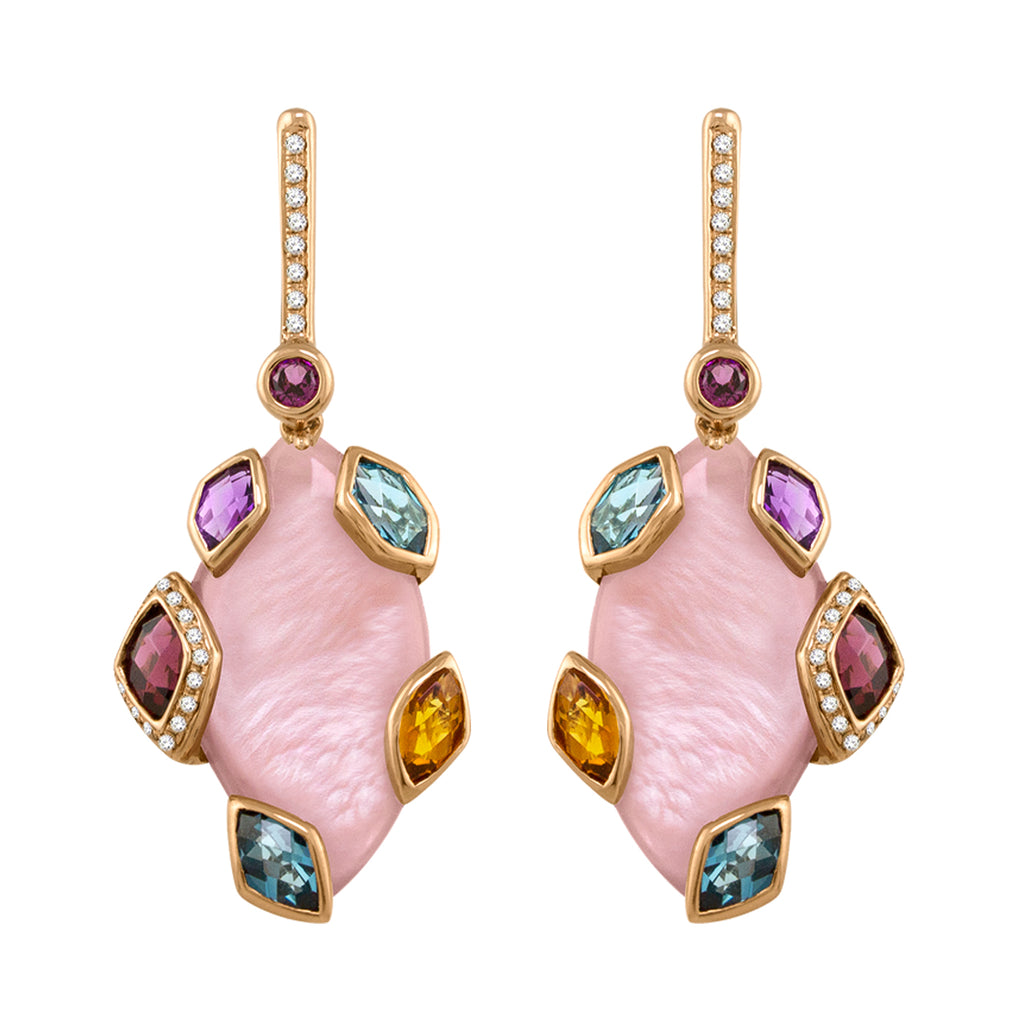 BELLARRI Aladdin Nouveau II - Pink Mother of Pearl Earrings