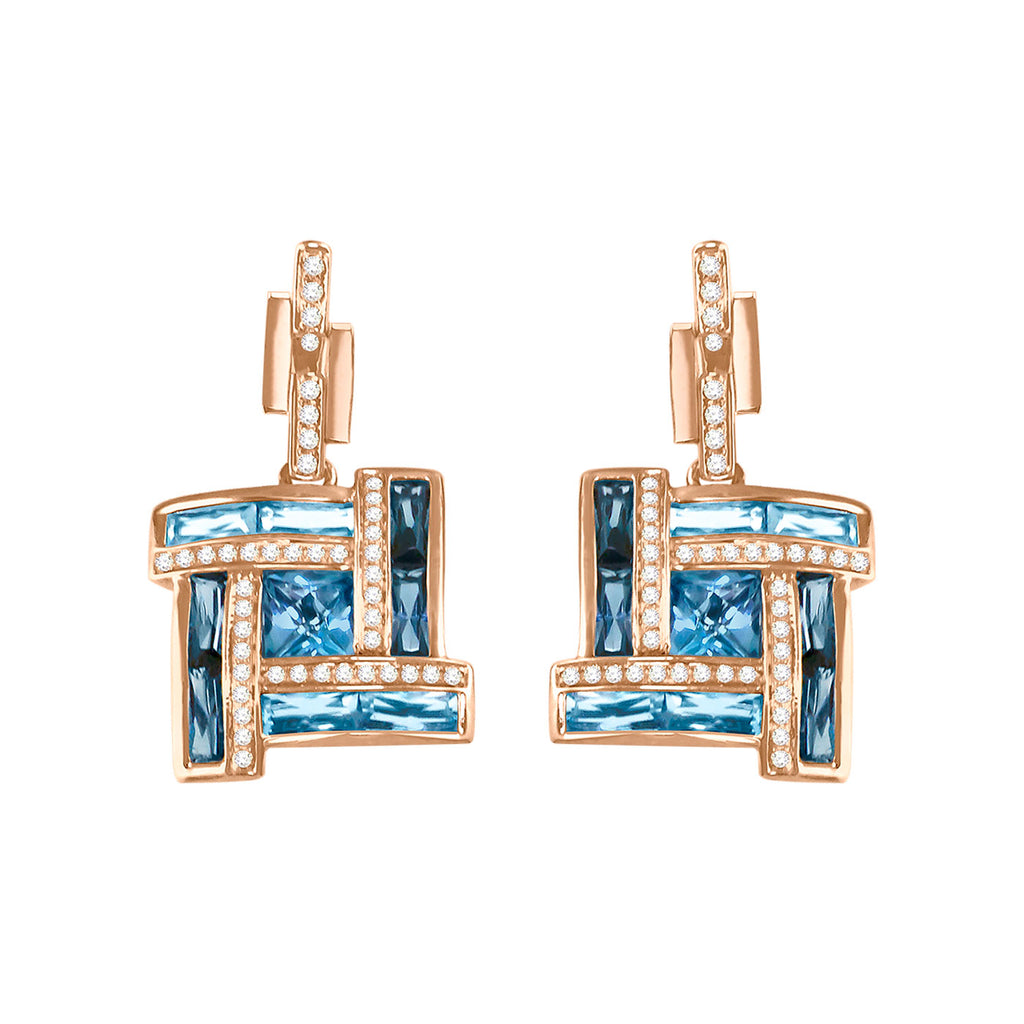 BELLARRI Galaxy of Love - Earrings (Rose Gold / Diamonds / Blue Topaz)