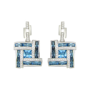 BELLARRI Galaxy of Love - Earrings (White Gold / Diamonds / Blue Topaz)